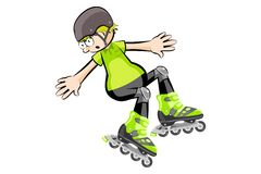 Rollerblader boy isolated on white - Cartoon style Stock Photos