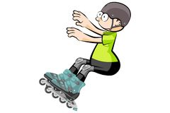 Rollerblader boy isolated on white - Cartoon style Stock Image