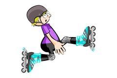 Rollerblader boy isolated on white Royalty Free Stock Photo