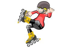 Rollerblader boy isolated on white Stock Photos