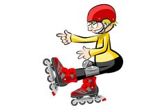 Rollerblader boy isolated on white Stock Photography