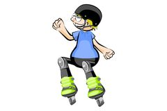 Rollerblader boy isolated on white Royalty Free Stock Images
