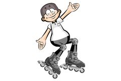 Rollerblader boy isolated on white Royalty Free Stock Photography