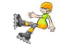 Rollerblader boy isolated on white Stock Photo