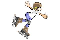 Rollerblader boy isolated on white Stock Image