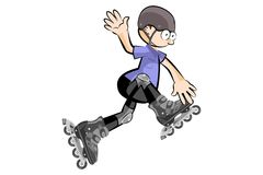 Rollerblader boy isolated on white Royalty Free Stock Photos