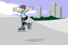 Rollerblader boy jumping in the skate park Stock Photos
