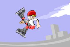 Rollerblader boy jumping in the skate park Royalty Free Stock Photos