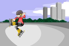 Rollerblader boy jumping in the skate park Stock Image