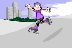 Rollerblader boy jumping in the skate park Stock Images