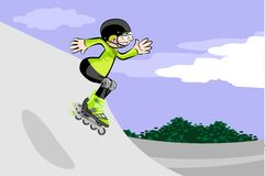 Rollerblader boy jumping in the skate park Royalty Free Stock Photo