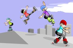 Rollerblader boy jumping in the skate park Stock Photography