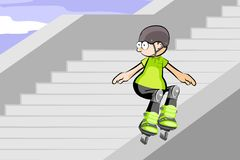Rollerblader jumping down stairs Stock Photos
