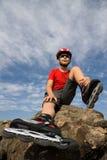 rollerblades мальчика стоковая фотография rf