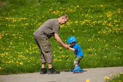 Rollerblades / inline skates teaching time Stock Photography
