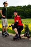 Rollerblades para dois Foto de Stock Royalty Free