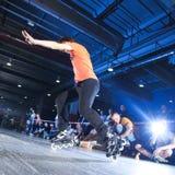 Rollerblading竞争 免版税库存图片