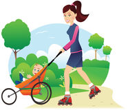 Rollerblading with babystroller in park Stock Photo