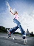 Rollerblading girl Stock Image