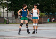 Rollerblading in Kaliningrad Royalty Free Stock Photography