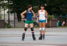Rollerblading in Kaliningrad. Women rollerblading in Kaliningrad, Russia royalty free stock photography