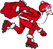 Rollerblading santa. Thin father Christmas on rollerblades Stock Images