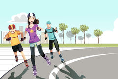 Rollerblading teenagers Stock Image
