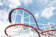 Rollercoaster against blue sky. stock image