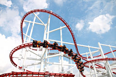 Rollercoaster against blue sky. Royalty Free Stock Images