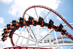 Rollercoaster against blue sky. Stock Images