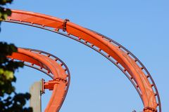 Rollercoaster against blue sky in the evening Royalty Free Stock Photography
