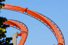 Rollercoaster against blue sky in the evening Royalty Free Stock Images