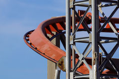 Rollercoaster against blue sky in the evening Royalty Free Stock Photo