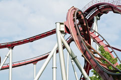 Rollercoaster. Against a cloudy sky Royalty Free Stock Photography