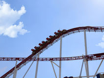 Rollercoaster in an amusement park Stock Photo