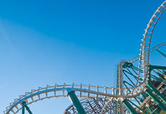Rollercoaster curved tracks. Curved rollercoaster tracks at the clear blue sky Royalty Free Stock Images
