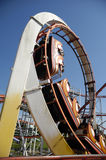 Rollercoaster at funfair. Fast rollercoaster at funfair in a loop Royalty Free Stock Images