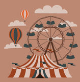 Rollercoaster. Retro fair picture. Ferris wheel and balloons. Vector image Royalty Free Stock Photography