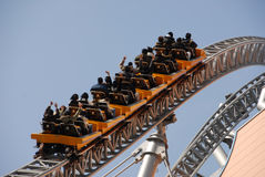 Rollercoaster ride. Roller coaster ride in an amusement park Royalty Free Stock Images
