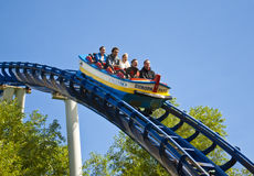 Rollercoaster riders. Visitors enjoying a ride on a rollercoaster in Europa Park, Germany Stock Images
