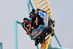 Rollercoaster Riders in Santa Cruz Stock Photo
