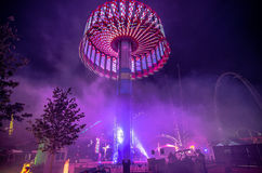 Rollercoaster rides at an amusement park in south carolina Stock Photo