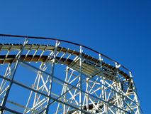 Rollercoaster and Sky. White Wooden Rollercoaster in Pittsburgh, Pennsylvania Stock Image