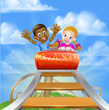 Rollercoaster at the Theme Park. Cartoon boy and girl riding on a roller coaster ride at a theme park or amusement park Royalty Free Stock Photo