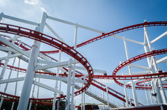 Rollercoaster track with blue sky Stock Photo