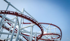 Rollercoaster track with blue sky Stock Images