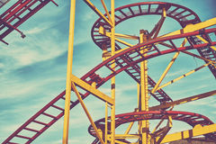 Rollercoaster track construction in an amusement park Royalty Free Stock Image