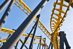 Rollercoaster tracks at an amusement park Stock Photography