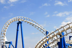 Rollercoaster tracks with blue sky Stock Photography