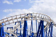 Rollercoaster tracks with blue sky Royalty Free Stock Image